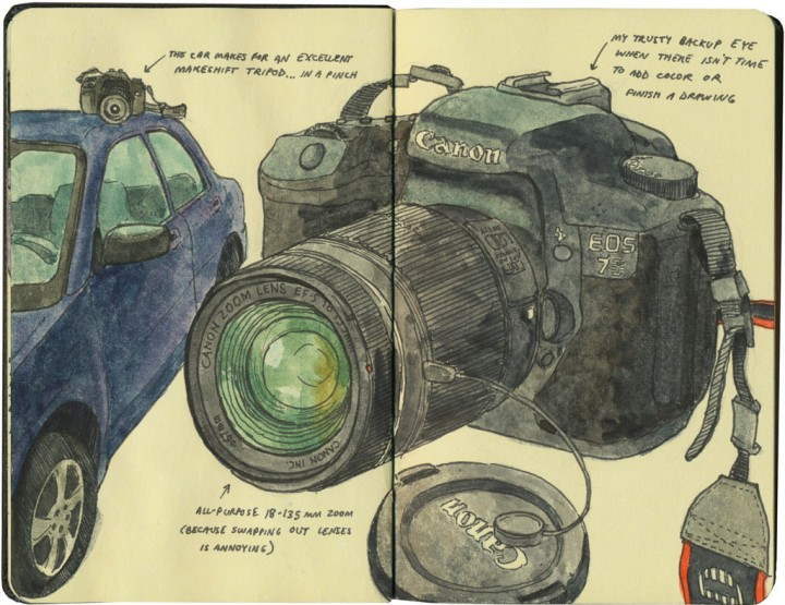 Camera and car sketch by Chandler O'Leary