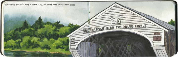 Covered bridge sketch by Chandler O'Leary