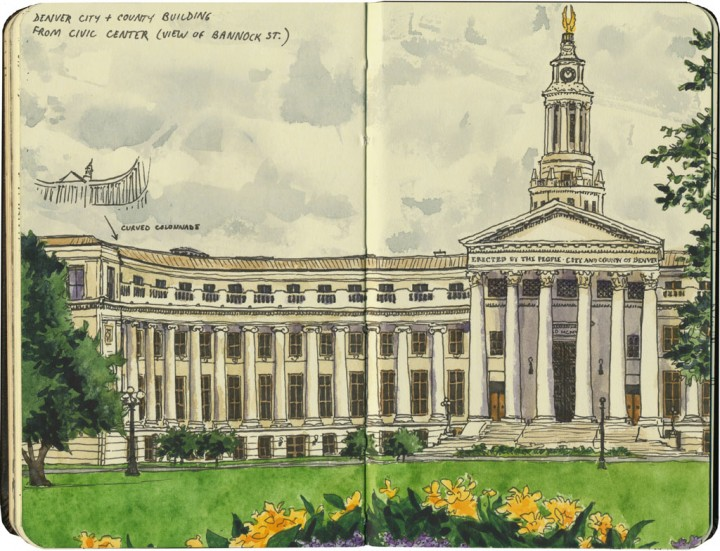 Denver City Hall sketch by Chandler O'Leary