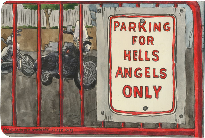 Hells Angels sketch by Chandler O'Leary