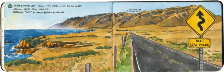 Big Sur Highway sketch by Chandler O'Leary