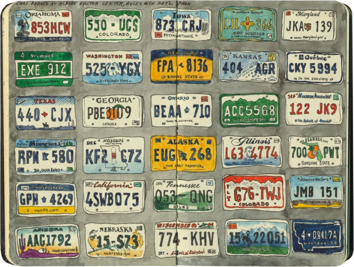 License plate sketches by Chandler O'Leary