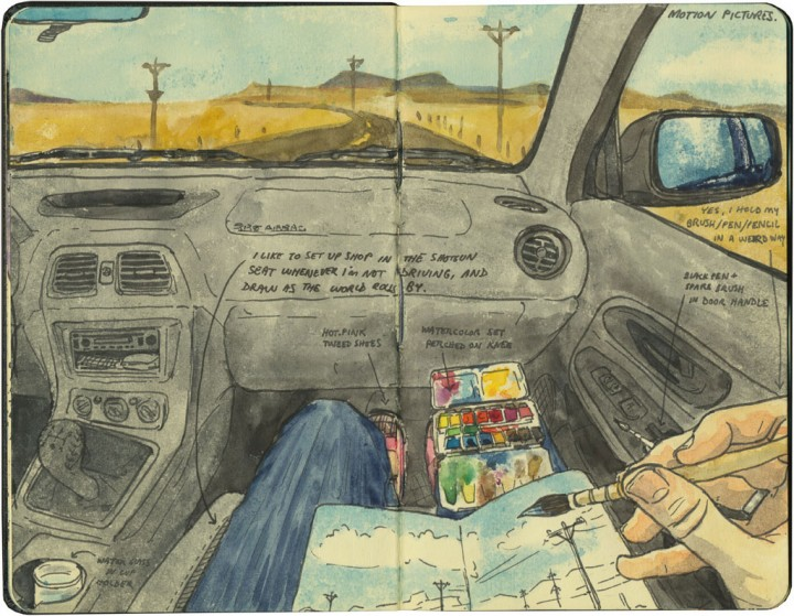 Sketching in the passenger seat (illustration by Chandler O'Leary)