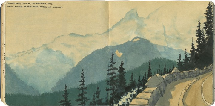 Smoke on Mount Rainier sketch by Chandler O'Leary