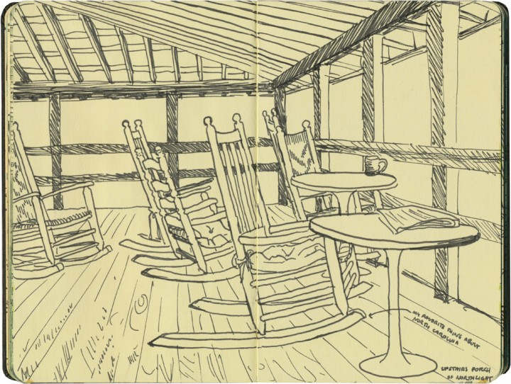 Rocking chairs sketch by Chandler O'Leary