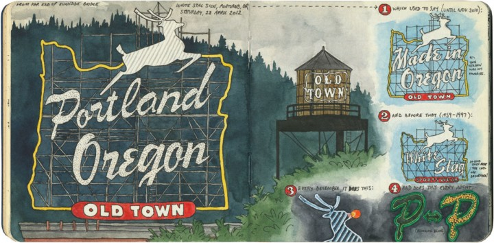 Portland, Oregon sign sketch by Chandler O'Leary