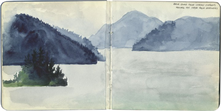 San Juan Islands sketch by Chandler O'Leary