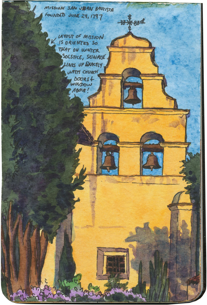 Mission San Juan Bautista sketch by Chandler O'Leary