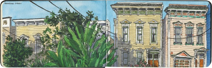San Francisco houses sketch by Chandler O'Leary
