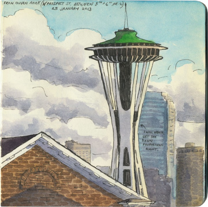 Space Needle sketch by Chandler O'Leary