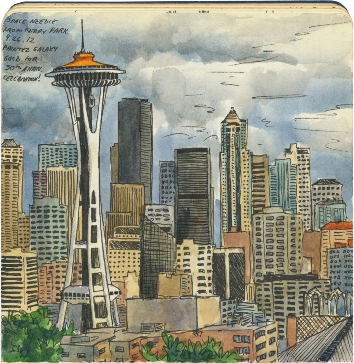 Orange Space Needle sketch by Chandler O'Leary