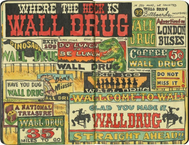 Wall Drug billboard sketches by Chandler O'Leary
