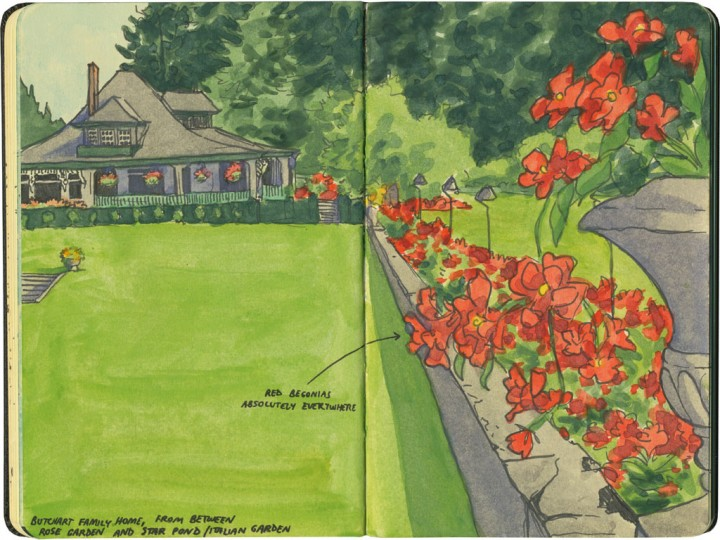 Butchart Gardens sketch by Chandler O'Leary