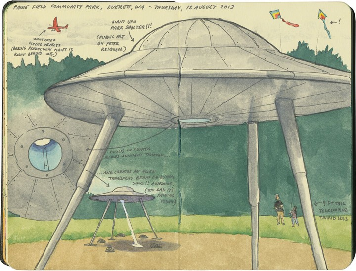 Flying saucer sketch by Chandler O'Leary