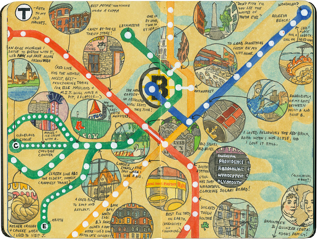 Ttime Drawn the Road Again – Boston Tourist Map