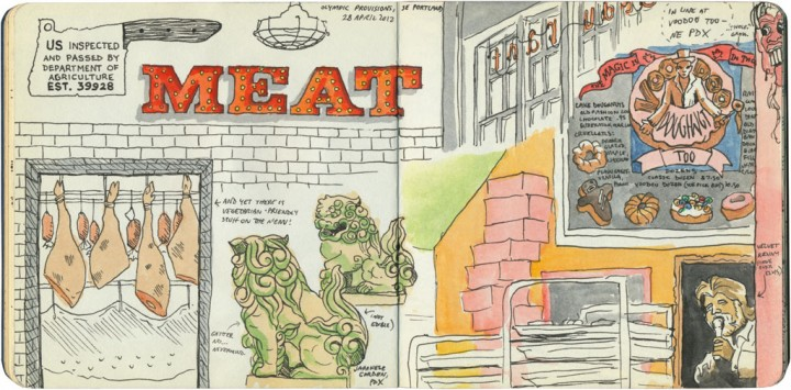 Portland restaurants sketch by Chandler O'Leary