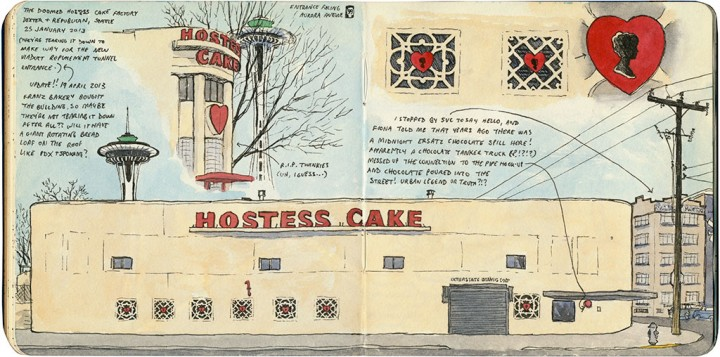 Hostess Cake factory sketch by Chandler O'Leary