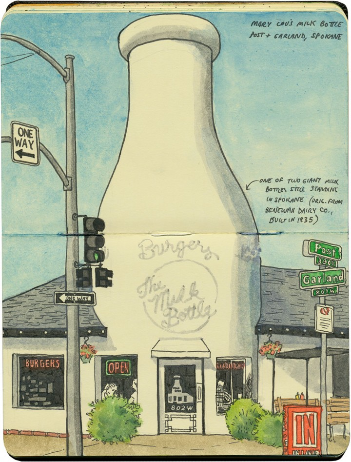 Giant milk bottle sketch by Chandler O'Leary