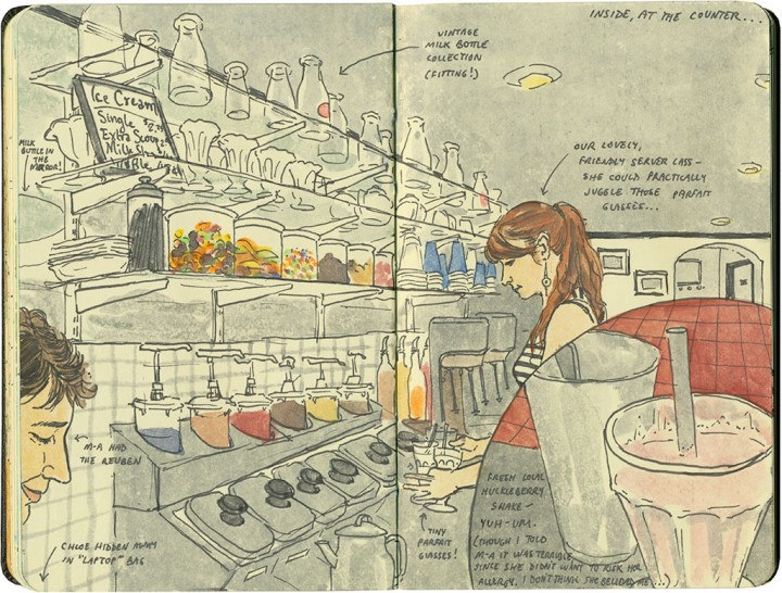 Milk bottle cafe sketch by Chandler O'Leary