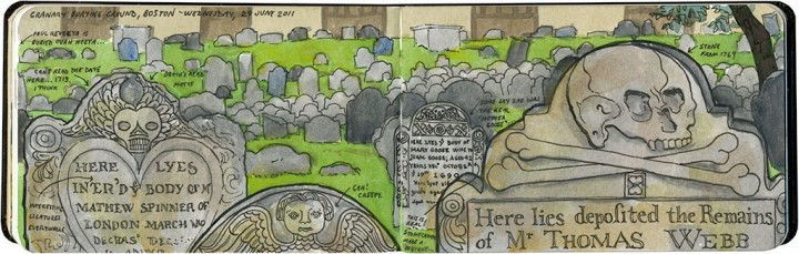 Boston colonial cemetery sketch by Chandler O'Leary