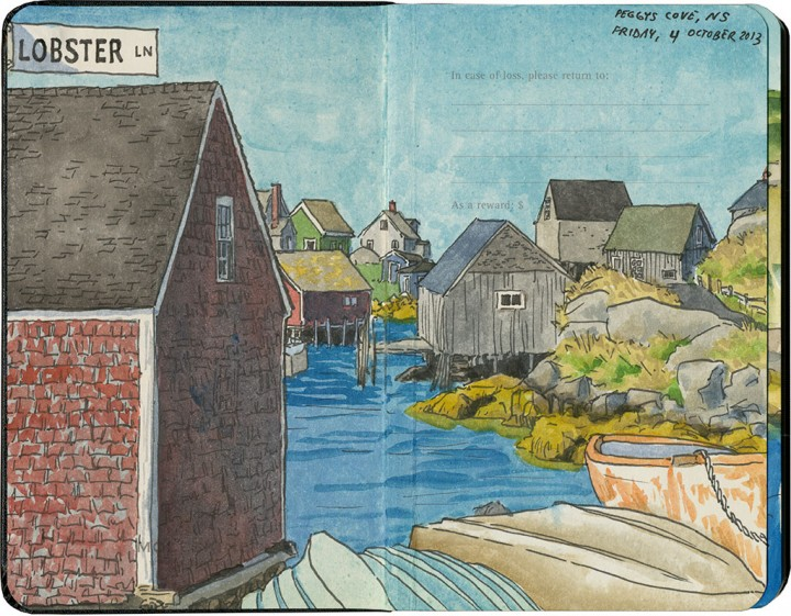 Peggys Cove sketch by Chandler O'Leary