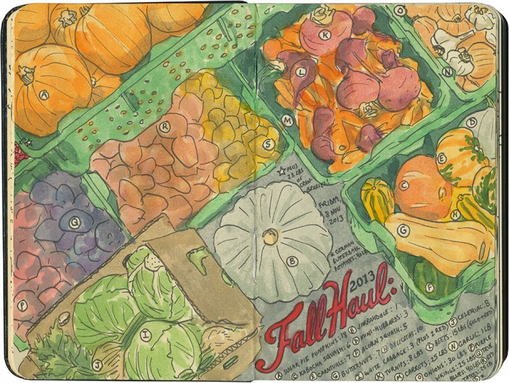 Winter vegetables sketch by Chandler O'Leary