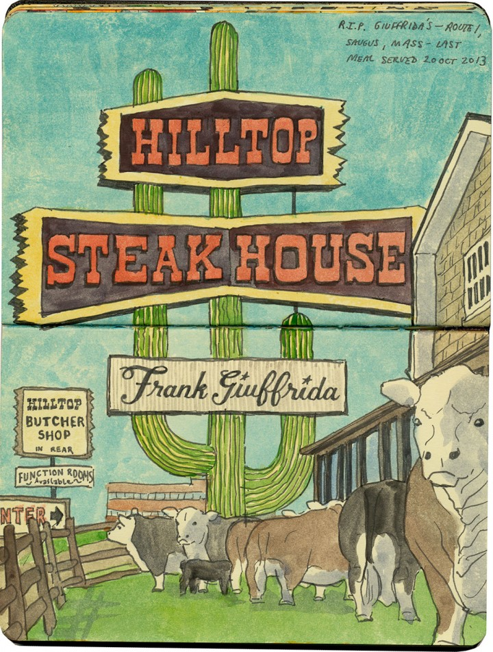 Hilltop Steakhouse sketch by Chandler O'Leary