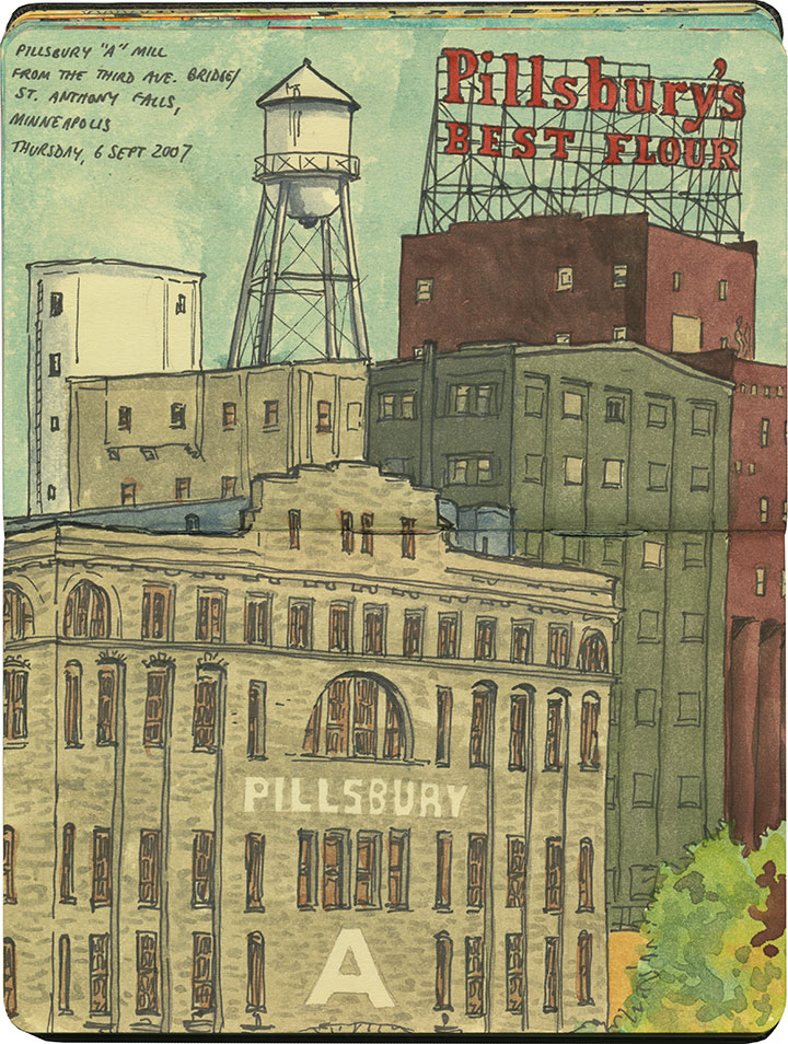 "Pillsbury ""A"" Mill sketch by Chandler O'Leary"
