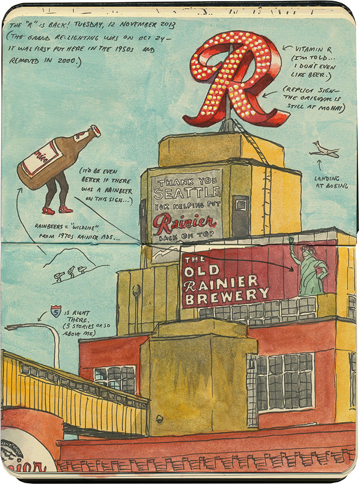 "Rainier ""R"" sketch by Chandler O'Leary"