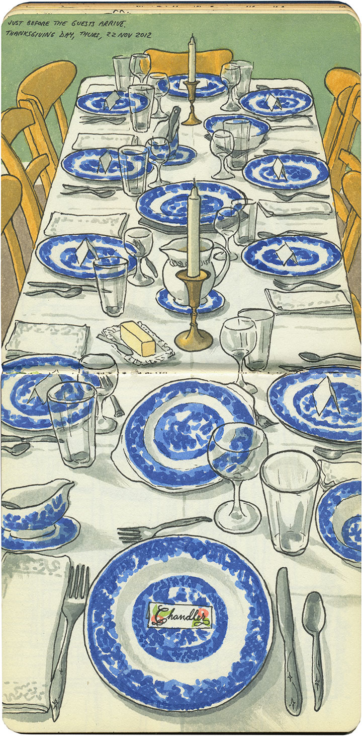 Thanksgiving table sketch by Chandler O'Leary
