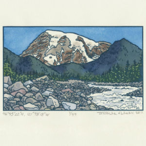 Mt. Rainier letterpress print by Chandler O'Leary