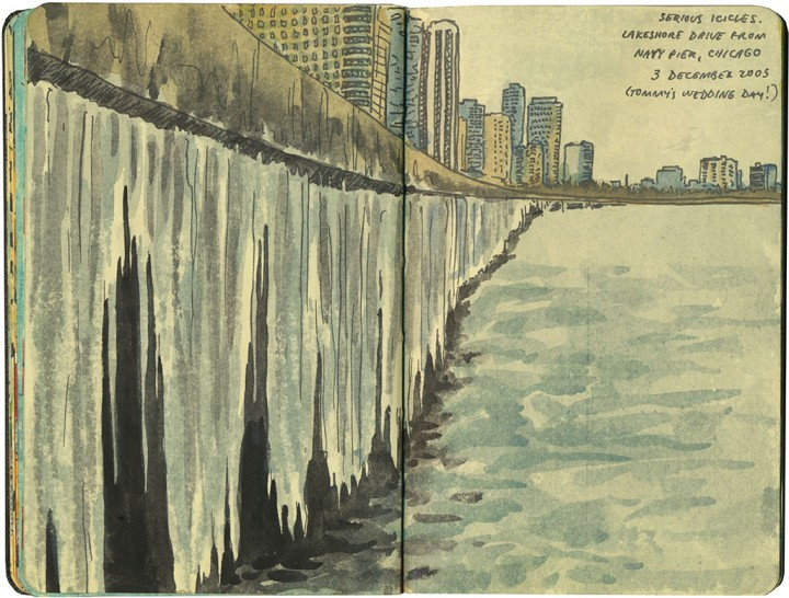 Chicago icicles sketch by Chandler O'Leary