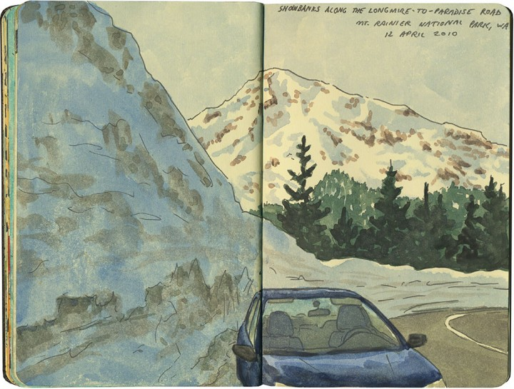 Mt. Rainier snowbank sketch by Chandler O'Leary