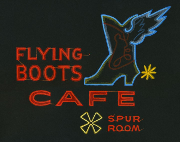 Flying Boots Cafe illustration by Chandler O'Leary