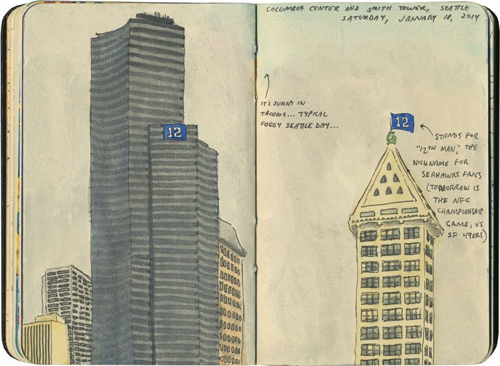 Seattle sketch by Chandler O'Leary