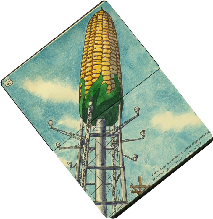 Corn watertower sketch by Chandler O'Leary