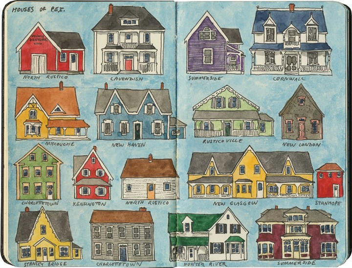 Houses of Prince Edward Island sketch by Chandler O'Leary