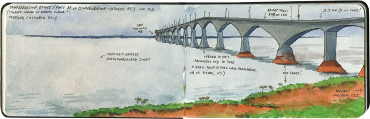 Confederation Bridge sketch by Chandler O'Leary