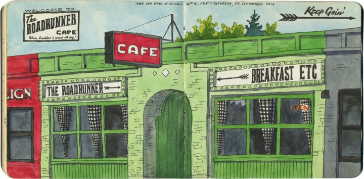 Roadrunner Cafe sketch by Chandler O'Leary