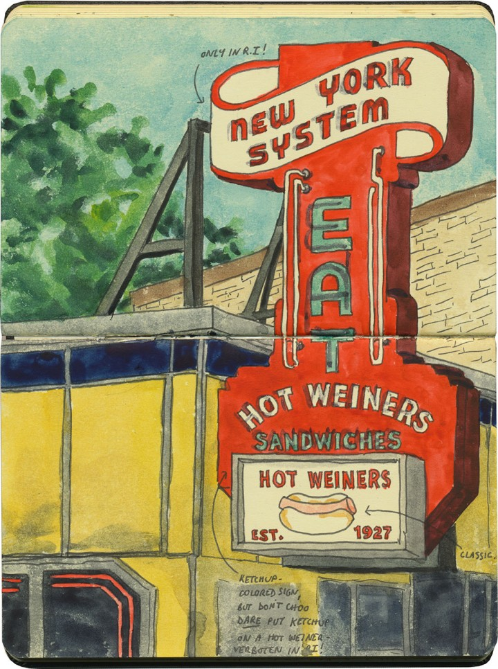 New York System Hot Weiner (or Wiener) Sandwich sketch by Chandler O'Leary