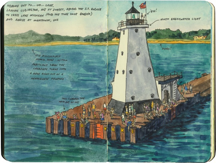 Lake Michigan lighthouse sketch by Chandler O'Leary