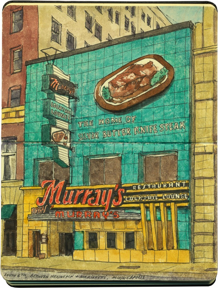 Murray's Steakhouse sketch by Chandler O'Leary