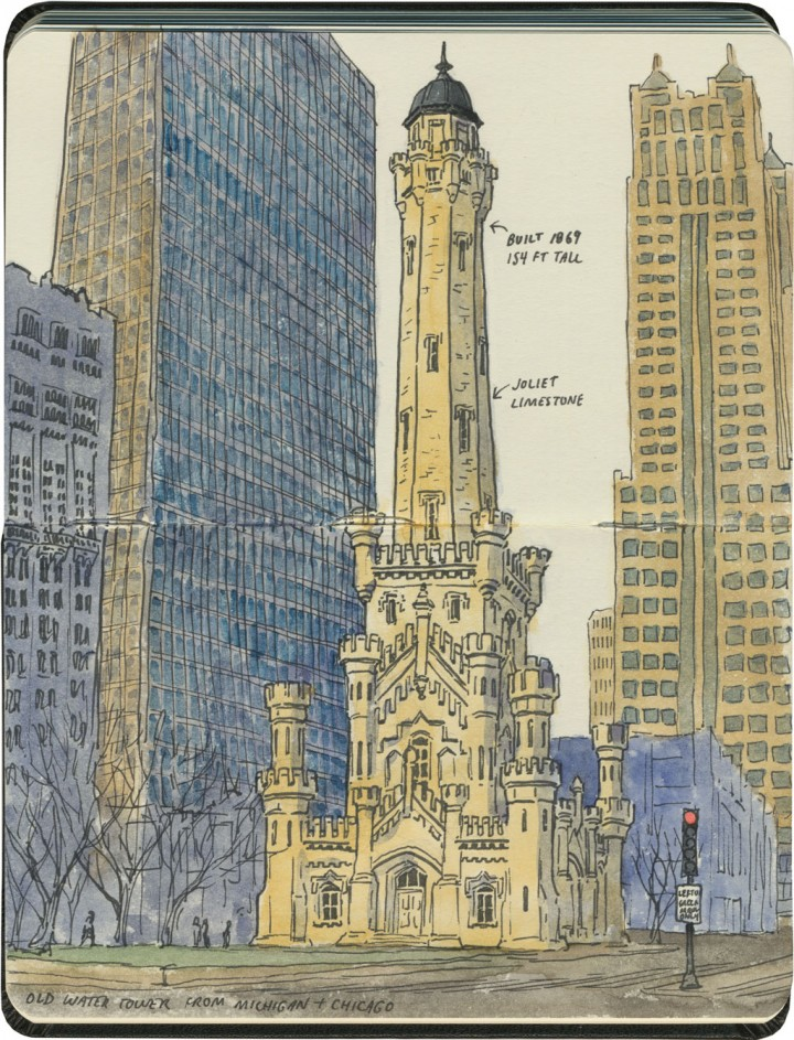 Chicago water tower sketch by Chandler O'Leary