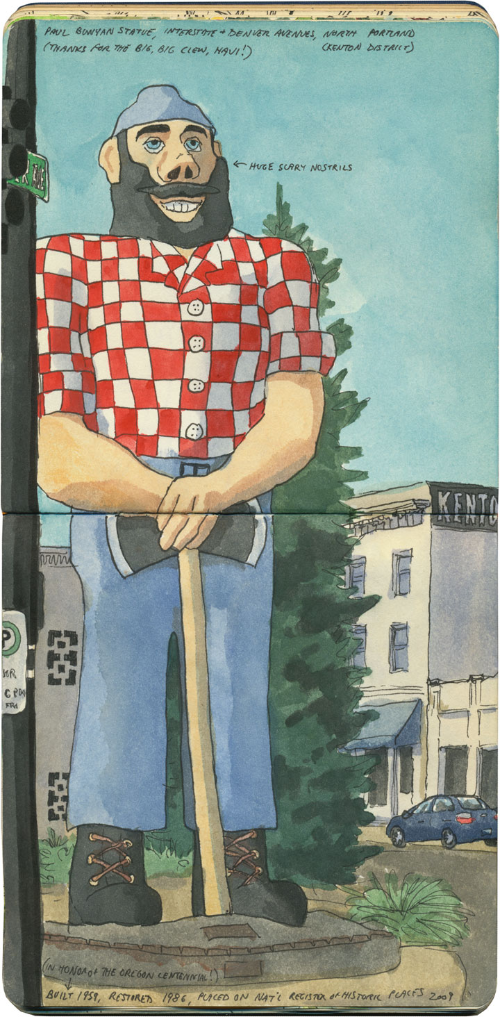 Portland Paul Bunyan sketch by Chandler O'Leary