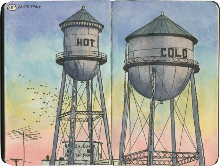 Hot & Cold watertowers sketch by Chandler O'Leary