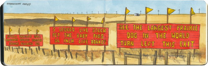 Roadside attraction signs sketch by Chandler O'Leary
