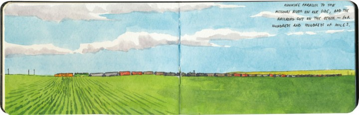 Montana freight train sketch by Chandler O'Leary