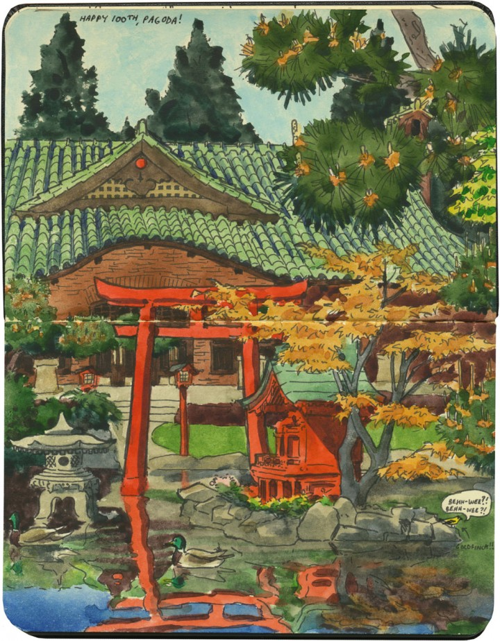 Point Defiance Pagoda sketch by Chandler O'Leary