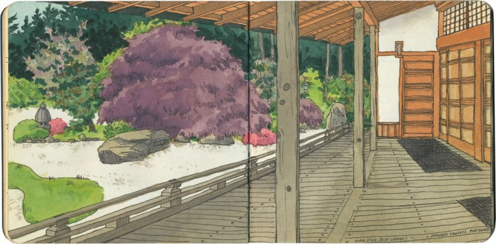 Portland Japanese Garden sketch by Chandler O'Leary