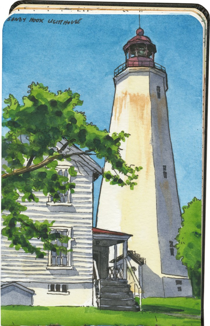 Sandy Hook lighthouse sketch by Chandler O'Leary